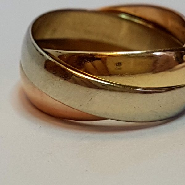 9ct trinity de cartier style ring three colour gold 4mm russian 9ct trinity de cartier style ring three colour gold 4mm russian wedding band junglespirit Choice Image