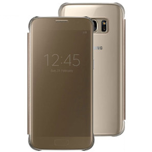 Genuine Samsung Clear View Cover For S7 Edge In Gold