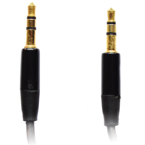 Pama 3.5mm to 3.5mm Stereo Jack Plug Lead - Short Black 60cm - Bulk