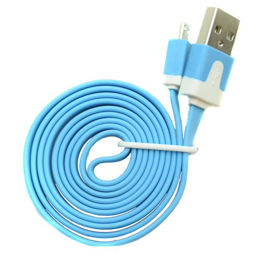 Pama Tangle Free Blue Flat Micro USB Data Cable 1M