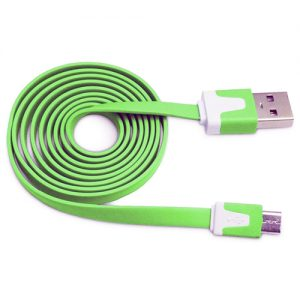 Pama Tangle Free Green Flat Micro USB Data Cable 1M