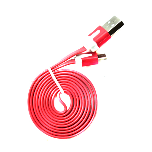 Pama Tangle Free Flat Red Micro USB Data Cable 1M