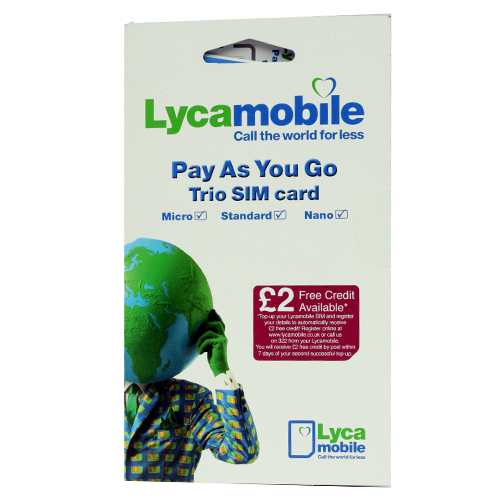 Lyca Mobile Pay As You Go Trio Sim ( Full MicroNano ) Retail Pack